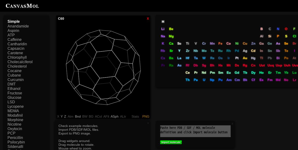 分子の構造が学べるCANVASMOLがおもしろい