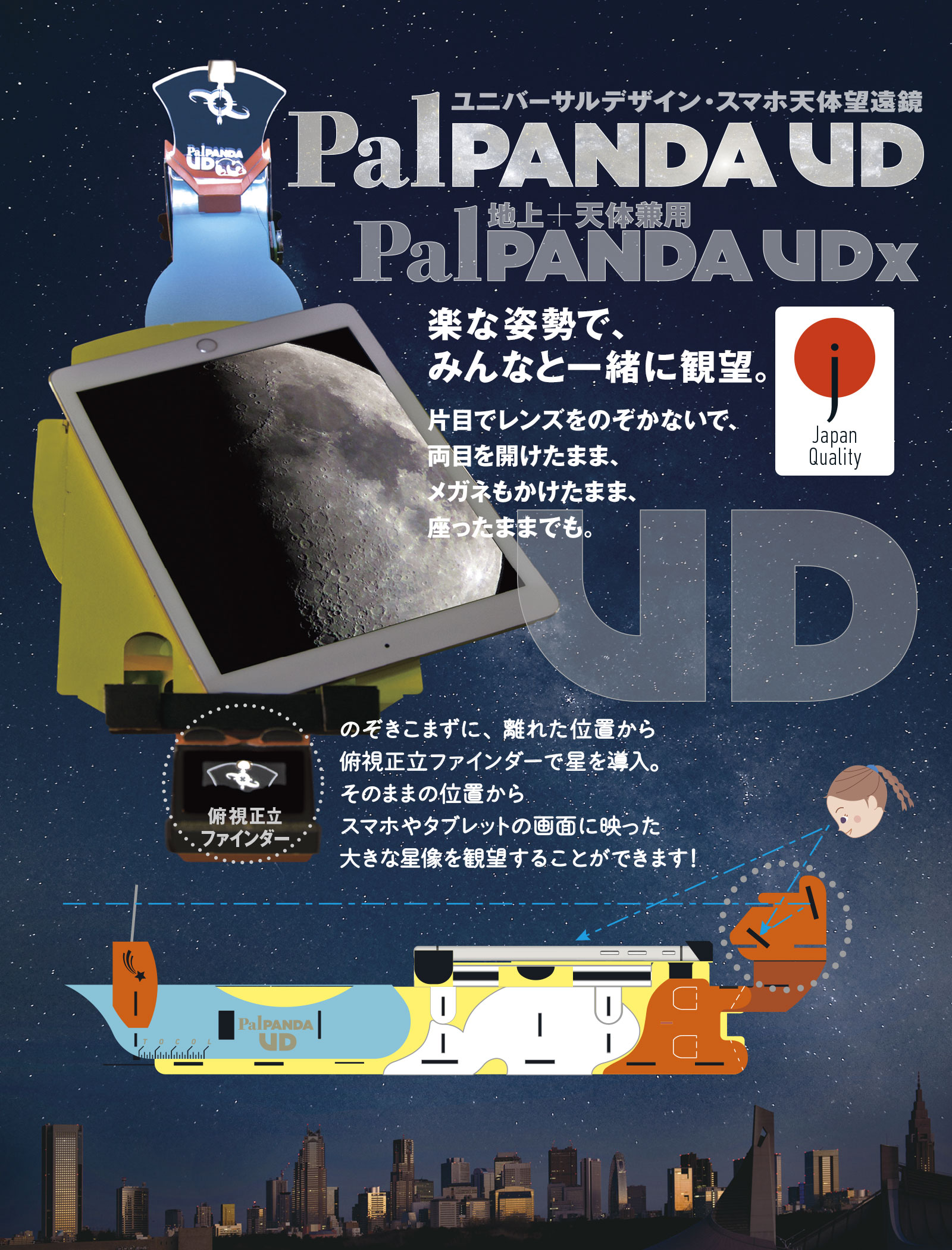 TOCOLの「ユニバーサルデザイン・スマホ天体望遠鏡PalPANDA UD」
