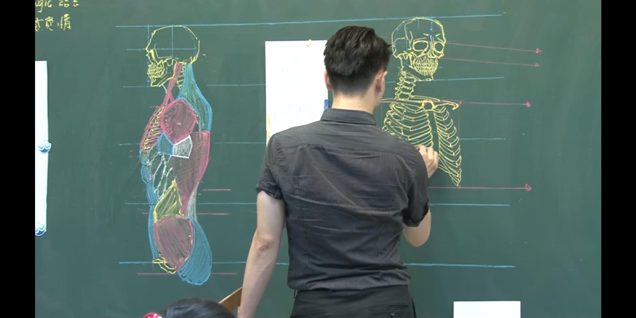解剖学とチョークアートのコラボ