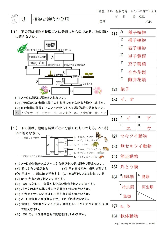 ふたばの白プリ1-3「植物と動物の分類」を公開しました。