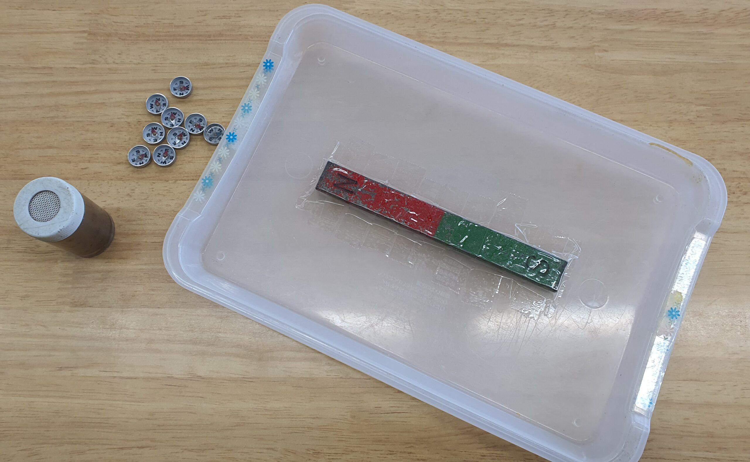 磁石の磁界を調べる実験